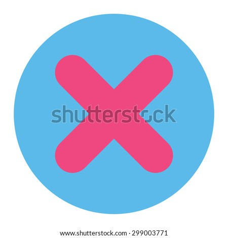 Cancel icon from Primitive Round Buttons OverColor Set. This round flat button is drawn with pink and blue colors on a white background. - stock photo