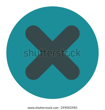 Cancel icon from Primitive Round Buttons OverColor Set. This round flat button is drawn with soft blue colors on a white background. - stock photo