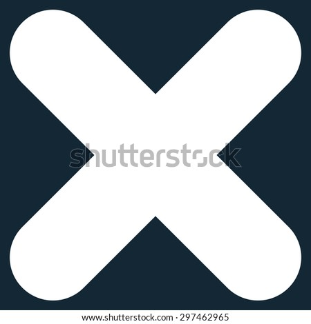 Cancel icon from Primitive Set. This isolated flat symbol is drawn with white color on a dark blue background, angles are rounded. - stock photo