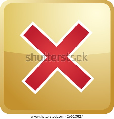 Cancel navigation icon glossy button, square shape