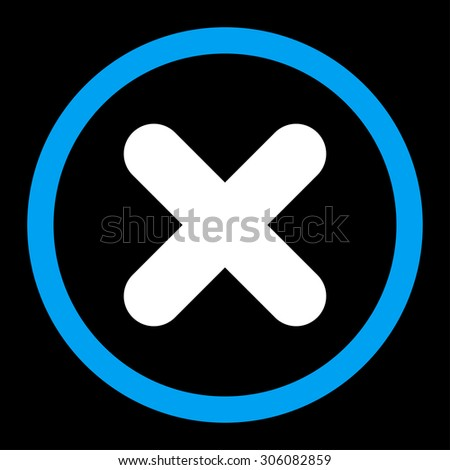 Cancel raster icon. This rounded flat symbol is drawn with blue and white colors on a black background. - stock photo