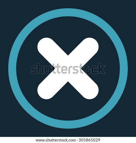 Cancel raster icon. This rounded flat symbol is drawn with blue and white colors on a dark blue background. - stock photo