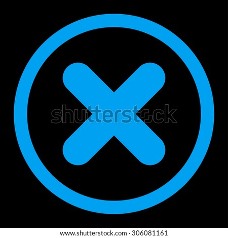Cancel raster icon. This rounded flat symbol is drawn with blue color on a black background. - stock photo