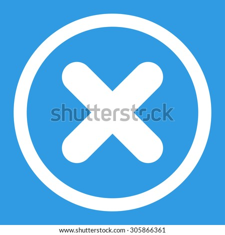 Cancel raster icon. This rounded flat symbol is drawn with white color on a blue background. - stock photo