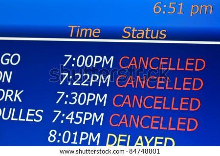 Canceled flights at airport - stock photo