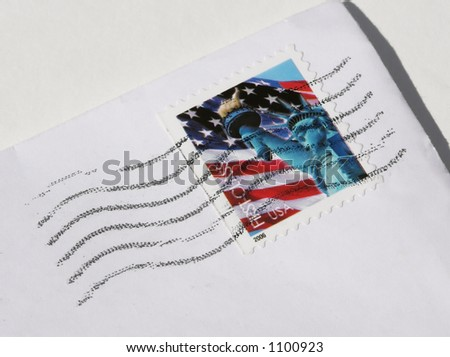 Canceled Postage on Letter - stock photo