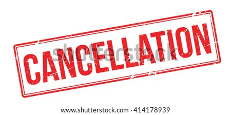 Cancellation red rubber stamp on white. Print, impress, overprint.