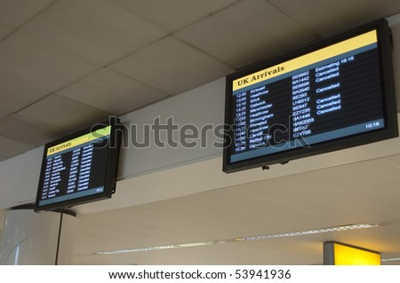 Cancelled flight in Great Britain - stock photo