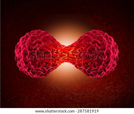 Cancer cell dividing concept as a microscopic cellular replication or division of malignant cancerous cells in the human body as a health care medical and oncology symbol for dangerous tumor growth. - stock photo