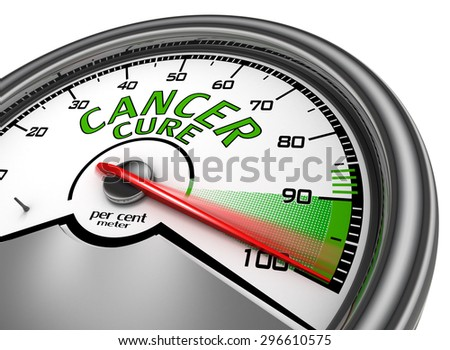 Cancer cure conceptual meter indicate maximum, isolated on white background - stock photo