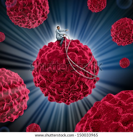 Cancer management and treatment for cancerous cells as a medical concept as a doctor guiding a malignant cell away from the human body as a symbol of research in disease treatment and prevention. - stock photo