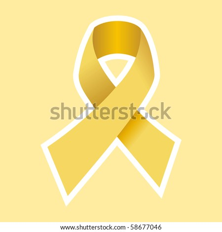 Cancer Yellow Ribbon in Gold. Light Yellow Background. - stock photo