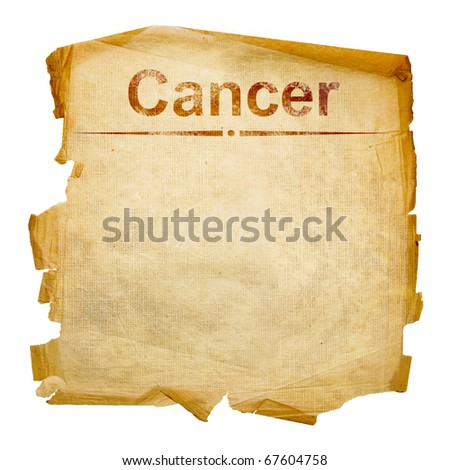 Cancer zodiac old, isolated on white background.