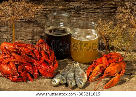 Cancers to beer, dill, boiled crawfish, beer snacks, pub, texture, crayfish, sea crayfish - stock photo
