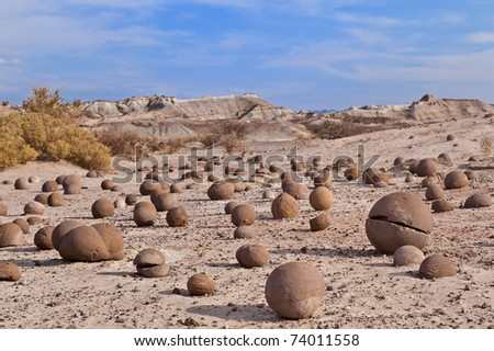 Cancha de bochas, sandstone formation in Ischigualasto, San Juan, Argentina. Declared UNESCO world heritage site and a major touristic destination. - stock photo