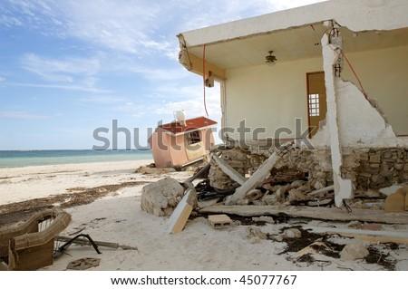 Cancun Caribbean houses after hurricane storm crash disaster - stock photo