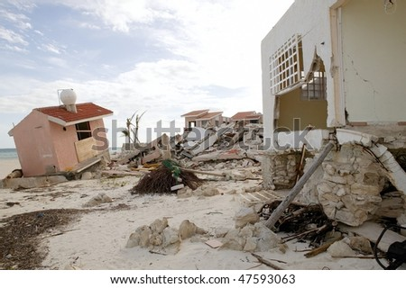 Cancun Caribbean houses after hurricane storm crash disaster - stock photo