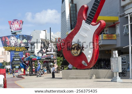CANCUN - JANUARY 22: View of the Hard Rock Cafe on Main Street on 22 January 2015 in Cancun, Mexico. In this street is a lot of clubs and restaurants for tourists from all over the world.. - stock photo