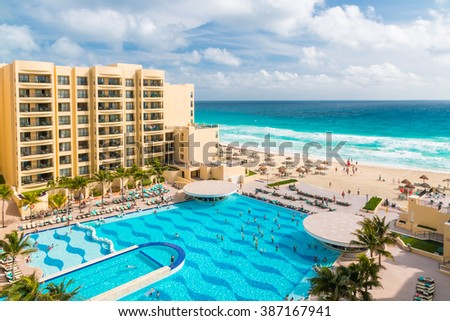 CANCUN, MEXICO - December 22, 2014: Luxury all-inclusive  The Royal Sands resort with  beautiful beach and swimming pool. - stock photo