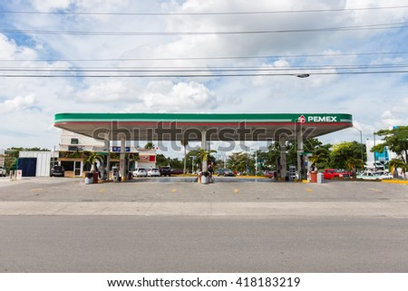 Cancun, Mexico - 8 February 2016: Pemex gasoline station at downtown