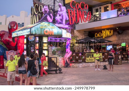 CANCUN, MEXICO - JANUARY 22, 2015: Coco Bongo is a popular nightclub in Cancun with great entertainment and effective visual promotions - stock photo