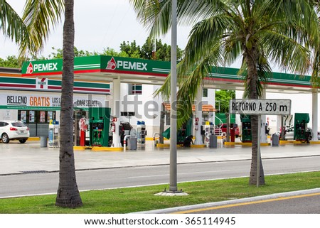 Cancun, Mexico - 12 January 2015: Pemex gasoline station at Hotel Zone - stock photo