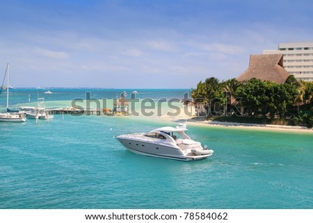 Cancun Mexico Lagoon and Caribbean sea Mayan Riviera - stock photo