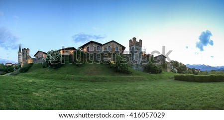 Candelo, Biella - May 4, 2016: Panoramic view of the Medieval village of Ricetto di Candelo in Piedmont, used as a refuge in times of attack during the Middle Age.