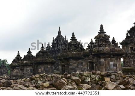 Candi Plaosan, a historic buddhist temple in Java, Indonesia - stock photo