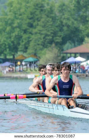 CANDIA, TURIN, ITALY - MAY 22: the CUS Milano coxed four (4+) crew rowing during 2011 Rowing CNU University National Championship on May 22, 2011 on Candia lake, Turin, Italy