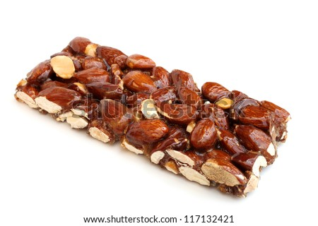 Candied almonds on a white background - stock photo