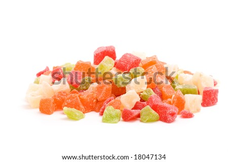Candied fruits over white - stock photo
