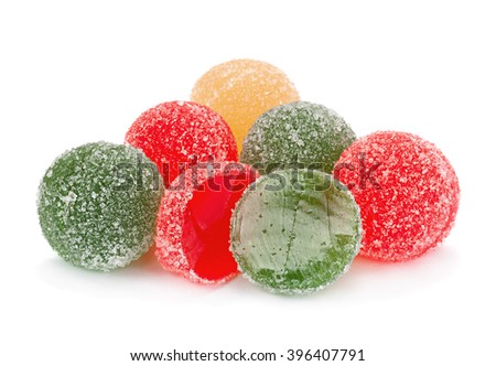 Candied round fruit jelly isolated on white background