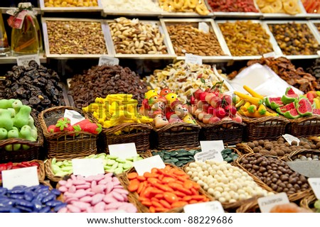 Candies assortment at the street market. - stock photo