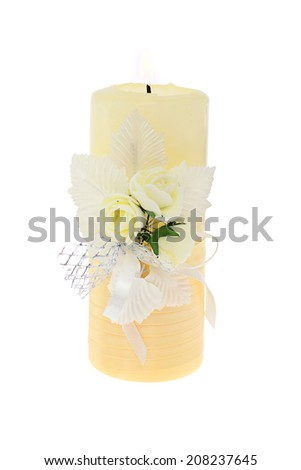 Candle and Flowers. Isolated on White Background.