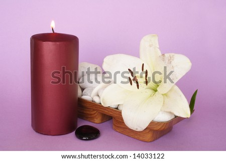 Candle and Madonna lily with white pebbles - stock photo