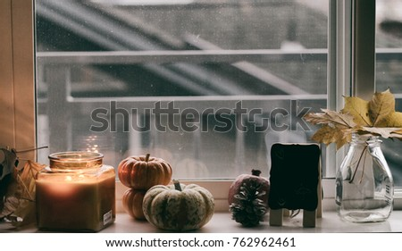 Candle and pumpkins, fall leaves in the jar on the sill by the window. Objects composition, fall composition by the window.