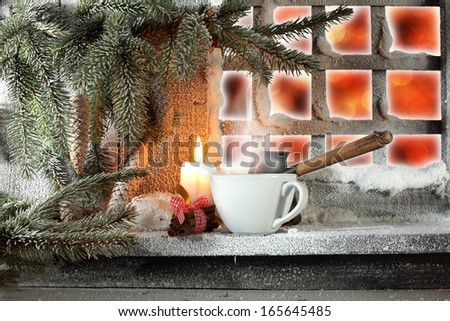 candle and window  - stock photo