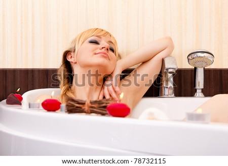 Candle Bath - stock photo