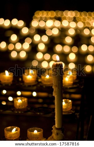 candle burn in church - stock photo