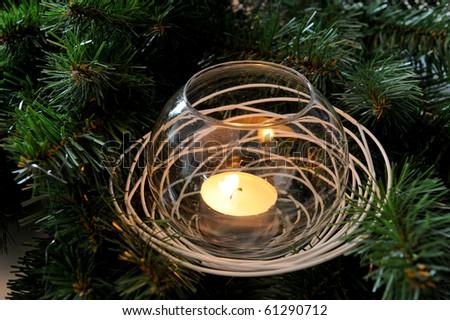 candle christmas tree - stock photo