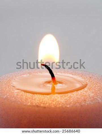 Candle close up flame. Burning candle. - stock photo