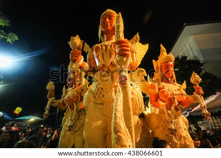 "Candle Festival UBON RATCHATHANI, THAILAND - July 22: ""The Candles are carved out of wax, Thai art form of wax(Ubon Candle Festival 2013) on July 22, 2013, UbonRatchathani, Thailand"