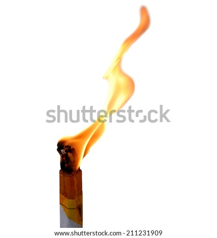 candle flame on white background - stock photo