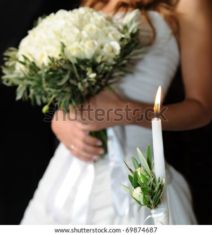 candle for wedding - stock photo