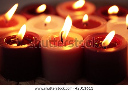 Candle group -backgrounds - stock photo