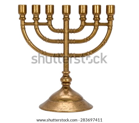 candle holder for seven candles Menorah  isolated on white background - stock photo