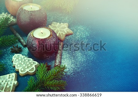 Candle in apple - beautiful christmas table decoration  - stock photo