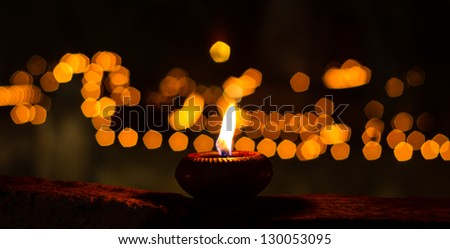 Candle in Buddha Temple - stock photo