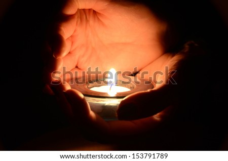 Candle in the hands